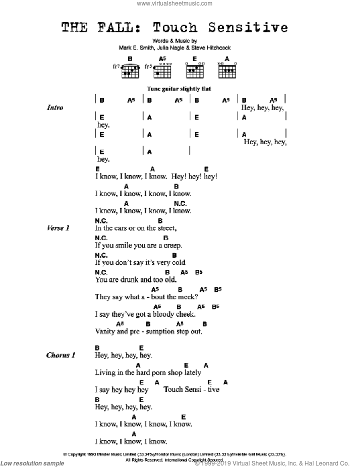 Touch Sensitive sheet music for guitar (chords) by The Fall. Score Image Preview.