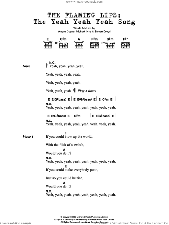 The Yeah Yeah Yeah Song sheet music for guitar solo (chords, lyrics, melody) by Michael Ivins