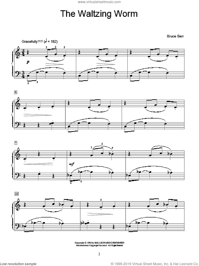 The Waltzing Worm sheet music for piano solo (elementary) by Bruce Berr and Miscellaneous, beginner piano (elementary)