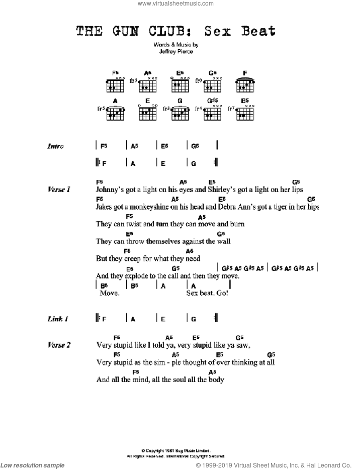 Sex Beat sheet music for guitar (chords) by Gun Club and Jeffrey Pierce, intermediate skill level