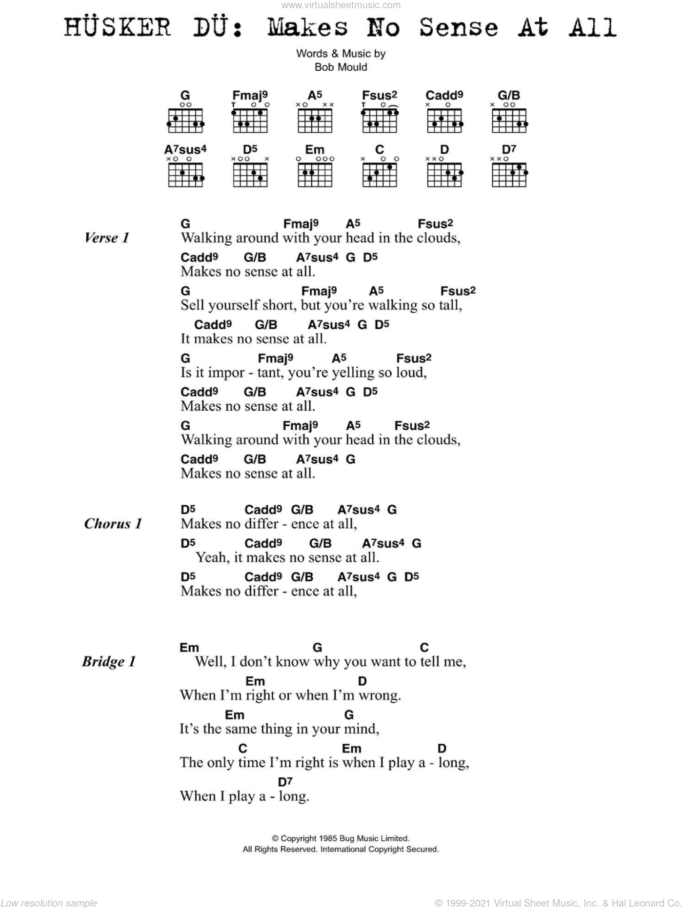 Makes No Sense At All sheet music for guitar (chords) by Husker Du. Score Image Preview.