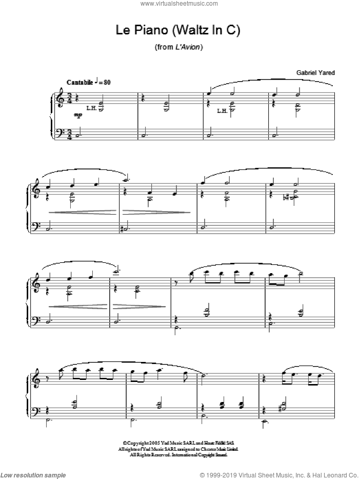 Le Piano (Waltz in C) (from L'Avion) sheet music for piano solo by Gabriel Yared. Score Image Preview.