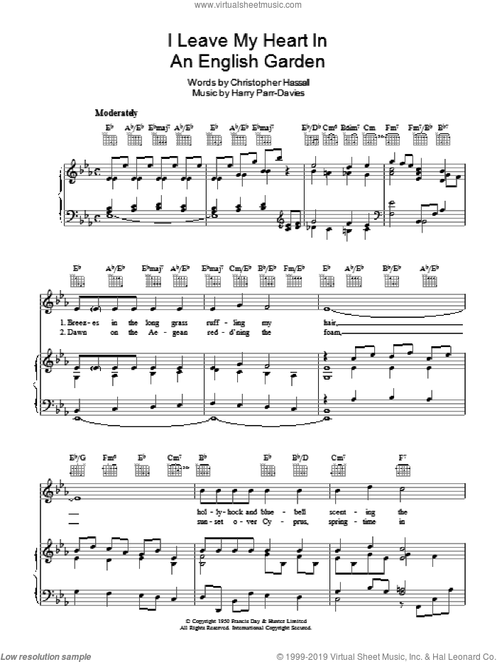 I Leave My Heart In An English Garden sheet music for voice, piano or guitar by Christopher Hassall and Harry Parr-Davies. Score Image Preview.