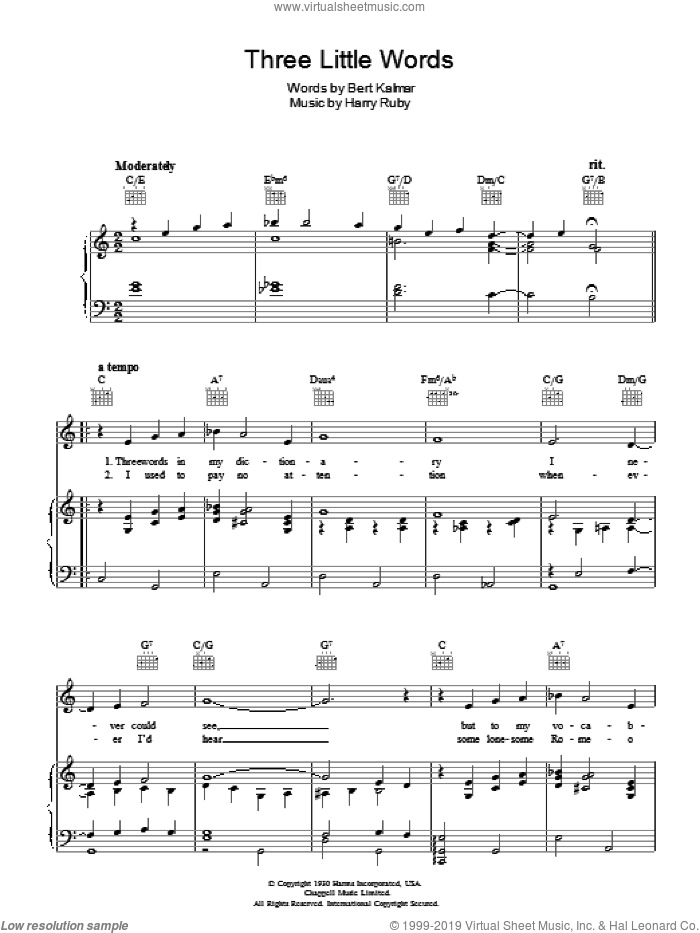 Three Little Words sheet music for voice, piano or guitar by Bert Kalmar and Harry Ruby