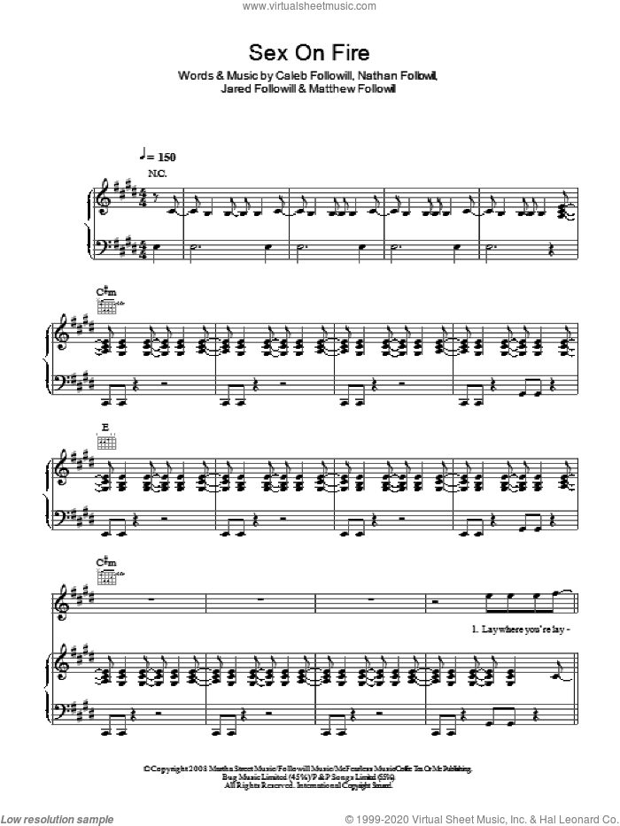 Sex On Fire sheet music for voice, piano or guitar by Caleb Followill