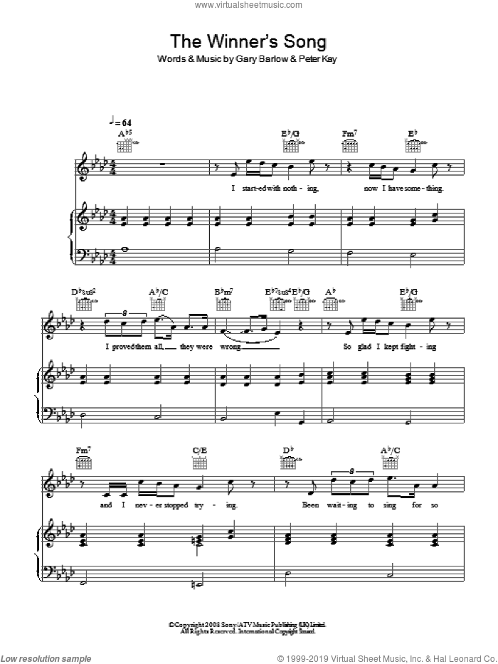 The Winner's Song sheet music for voice, piano or guitar by Gary Barlow