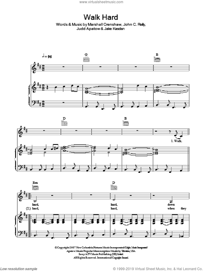 Walk Hard sheet music for voice, piano or guitar by John C. Reilly and Marshall Crenshaw. Score Image Preview.