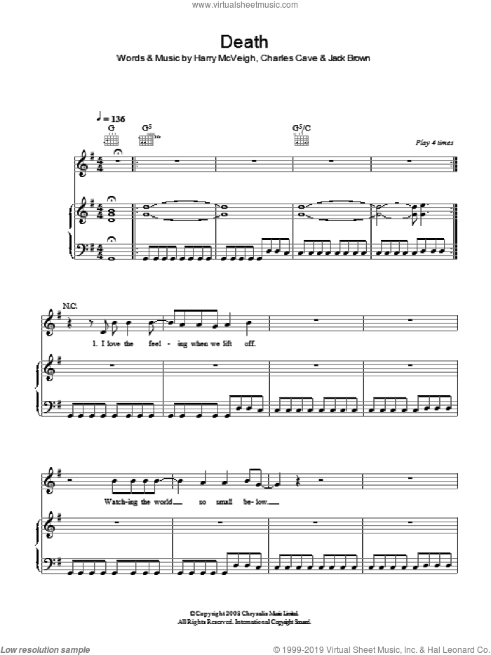 Death sheet music for voice, piano or guitar by White Lies
