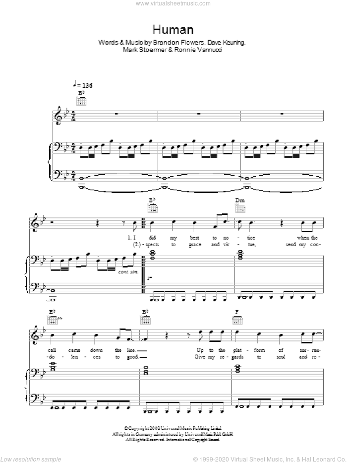 Human sheet music for voice, piano or guitar by The Killers and Brandon Flowers, intermediate voice, piano or guitar. Score Image Preview.