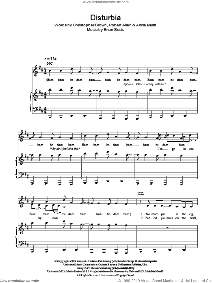 Disturbia sheet music for voice, piano or guitar by Rihanna, Brian Seals, Andre Merritt, Chris Brown and Robert Allen, intermediate skill level