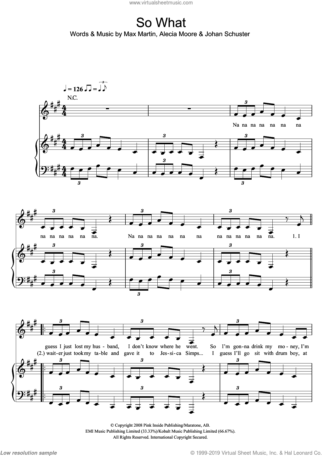So What sheet music for voice, piano or guitar by Max Martin, Miscellaneous, Alecia Moore and Johan Schuster, intermediate skill level