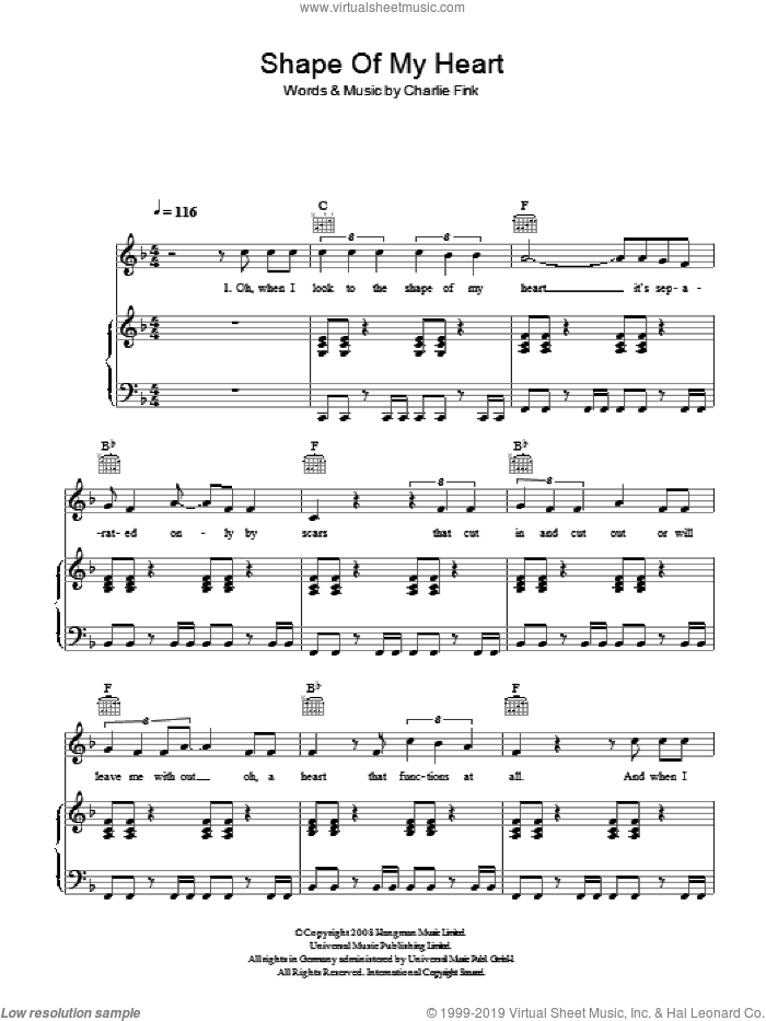 Shape Of My Heart sheet music for voice, piano or guitar by Noah And The Whale, intermediate voice, piano or guitar. Score Image Preview.