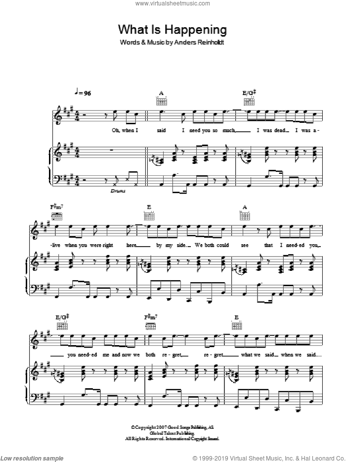 What Is Happening sheet music for voice, piano or guitar by Alphabeat, intermediate voice, piano or guitar. Score Image Preview.
