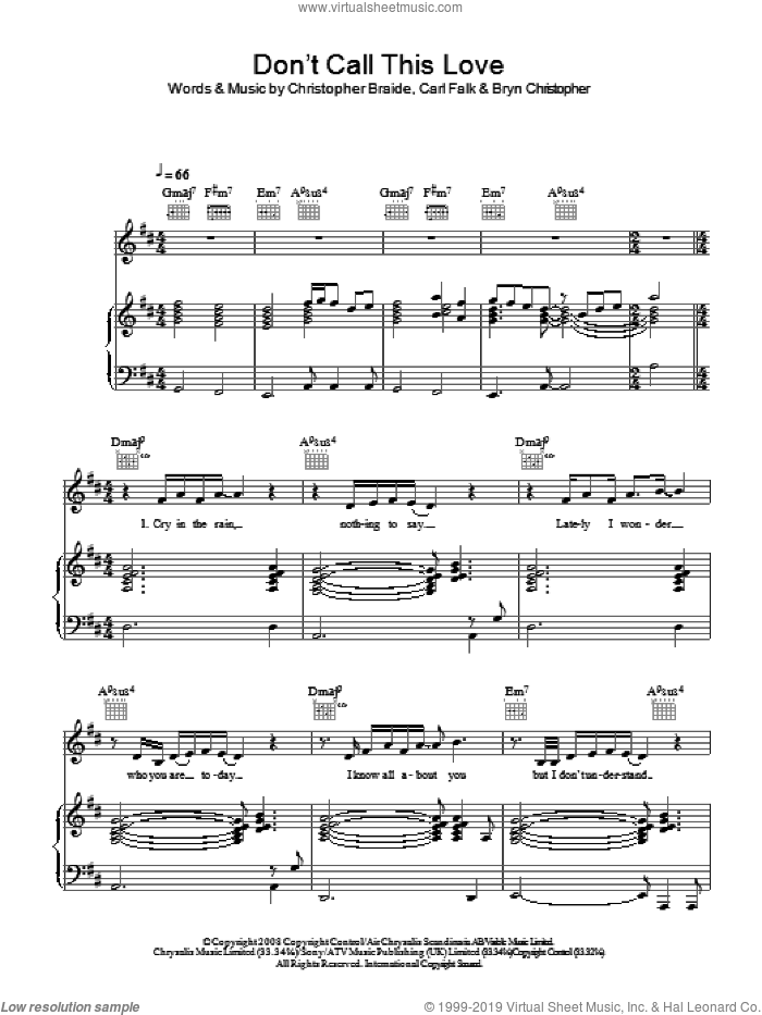 Don't Call This Love sheet music for voice, piano or guitar by Bryn Christopher
