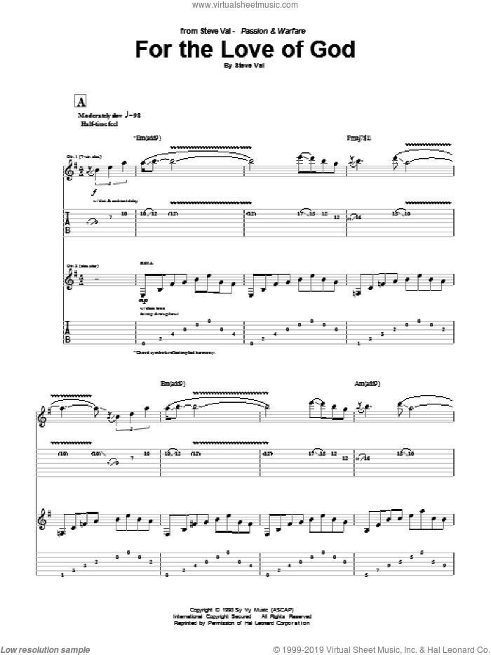 For The Love Of God sheet music for guitar (tablature) by Steve Vai, intermediate skill level