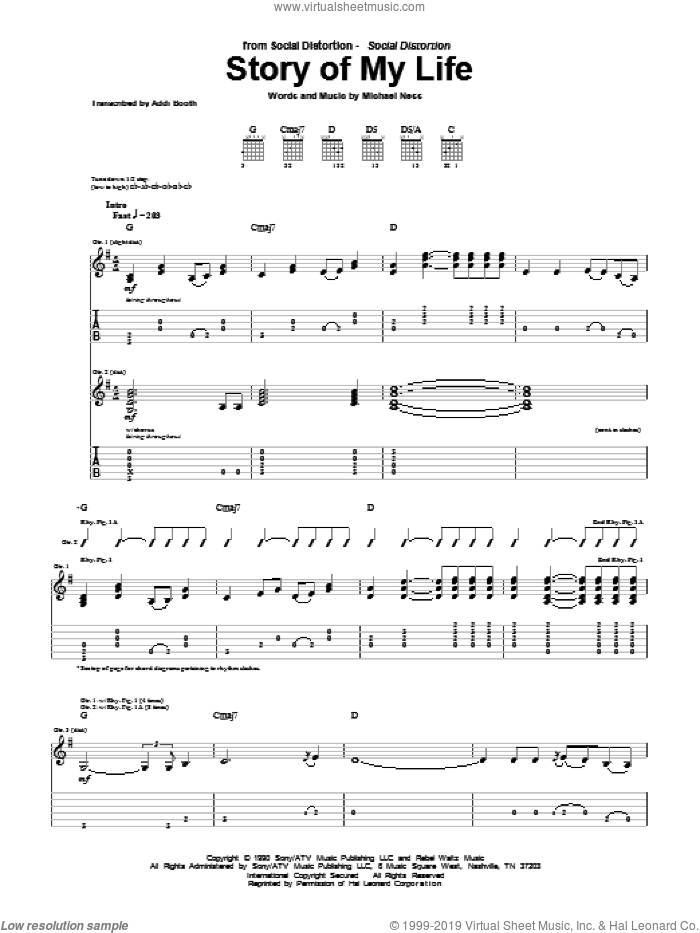 Distortion - Story Of My Life sheet music for guitar (tablature)