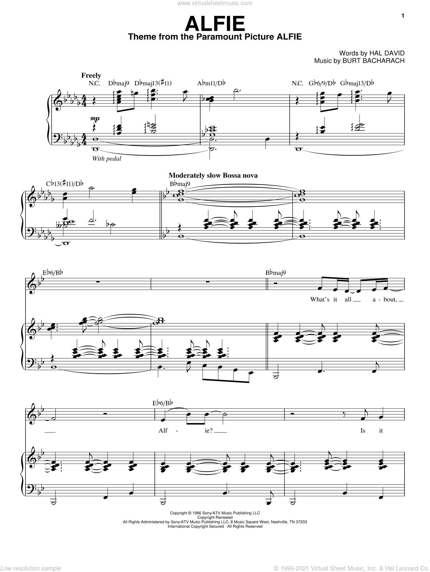 Alfie sheet music for voice and piano by Steve Tyrell, Bacharach & David, Burt Bacharach and Hal David, intermediate skill level