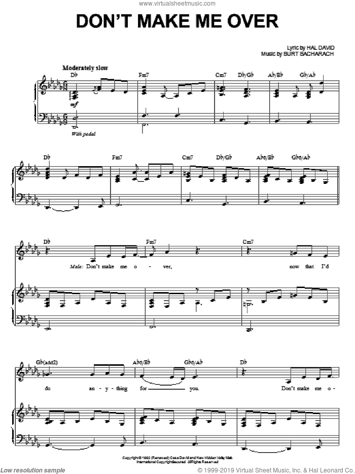 Don't Make Me Over sheet music for voice and piano by Steve Tyrell, Bacharach & David, Burt Bacharach and Hal David, intermediate skill level