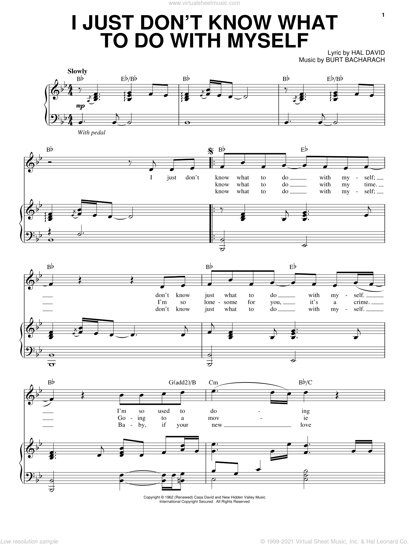 I Just Don't Know What To Do With Myself sheet music for voice and piano by Steve Tyrell, Bacharach & David, Dusty Springfield, Burt Bacharach and Hal David, intermediate skill level