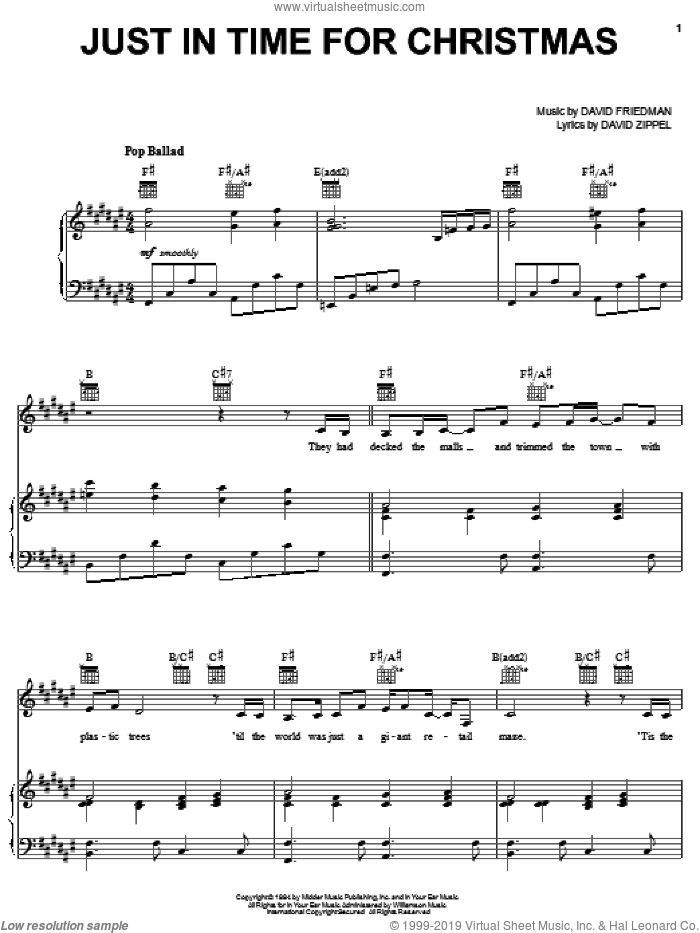 Just In Time For Christmas sheet music for voice, piano or guitar by David Zippel, Craig Rubano, Nancy Lamott and David Friedman, intermediate