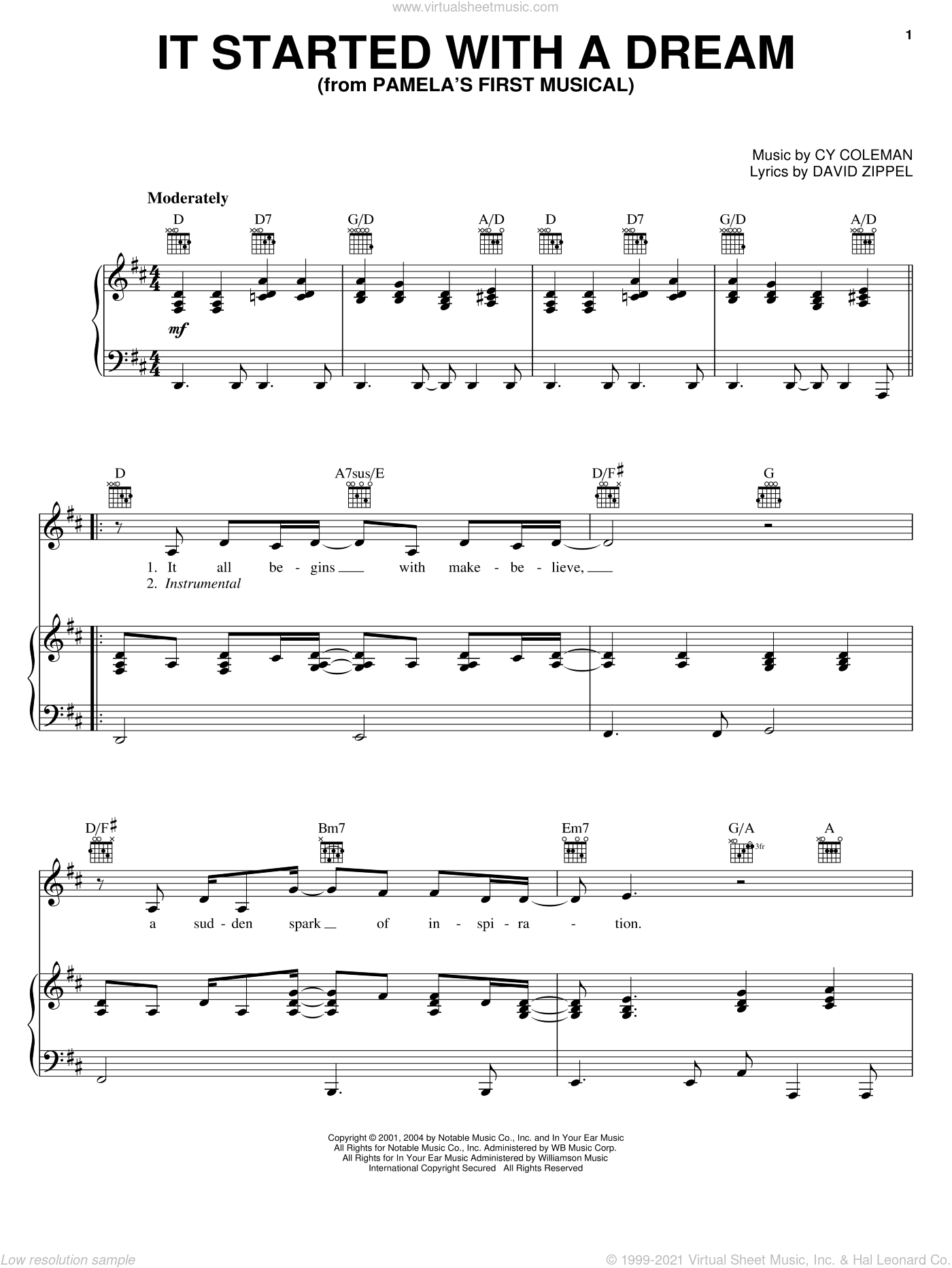 It Started With A Dream sheet music for voice, piano or guitar by David Zippel and Cy Coleman, intermediate skill level