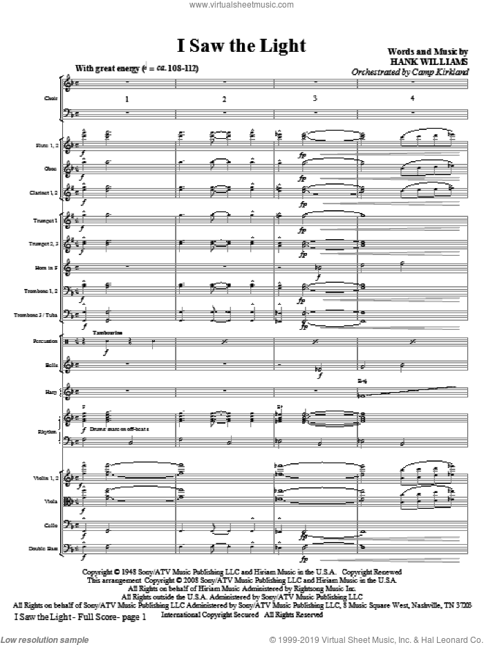 I Saw The Light (COMPLETE) sheet music for orchestra/band (Orchestra) by Hank Williams and Camp Kirkland, intermediate skill level