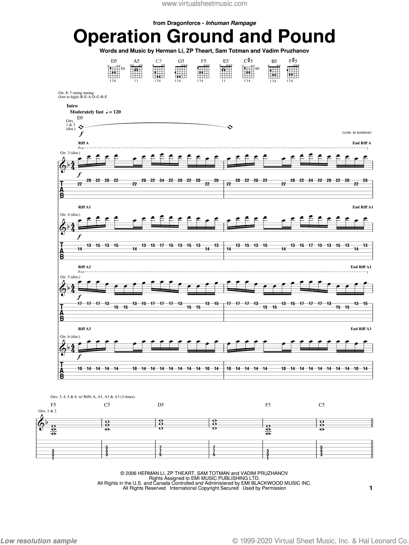 Operation Ground And Pound sheet music for guitar (tablature) by ZP Theart