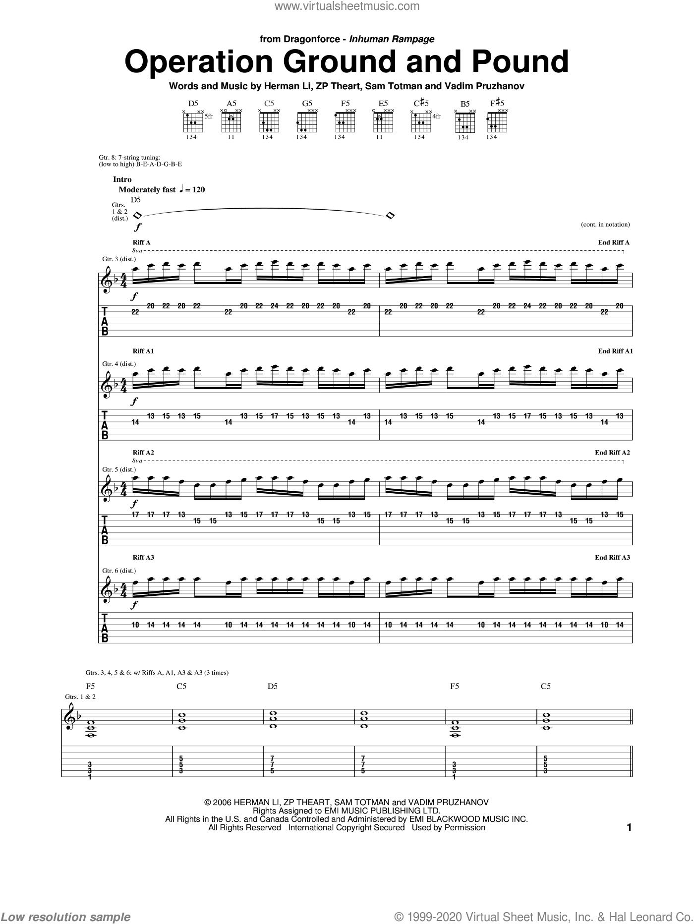Operation Ground And Pound sheet music for guitar (tablature) by Dragonforce, Herman Li, Sam Totman, Vadim Pruzhanov and ZP Theart, intermediate skill level