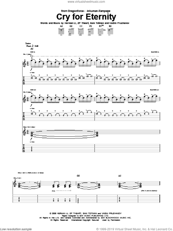 Cry For Eternity sheet music for guitar (tablature) by ZP Theart and Herman Li. Score Image Preview.