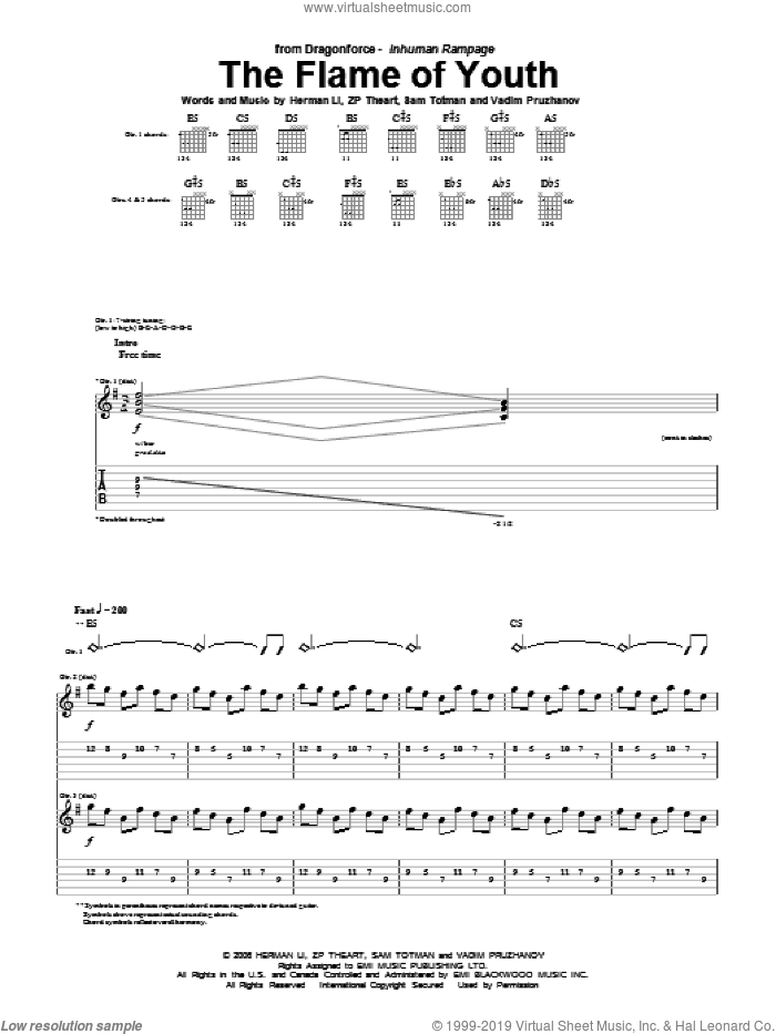 The Flame Of Youth sheet music for guitar (tablature) by ZP Theart and Herman Li. Score Image Preview.