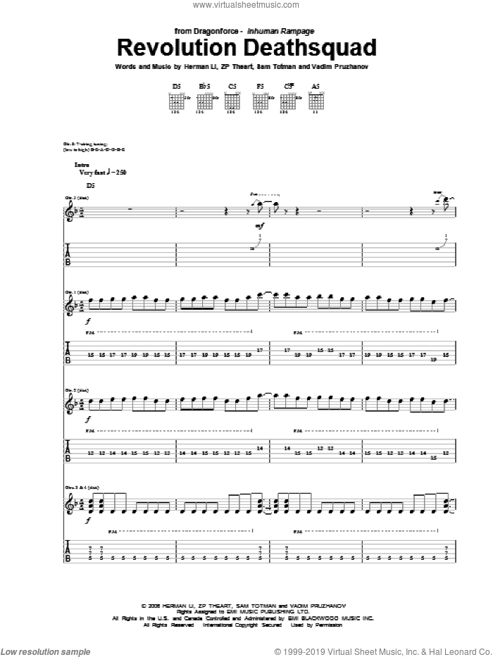 Revolution Deathsquad sheet music for guitar (tablature) by Dragonforce, intermediate. Score Image Preview.