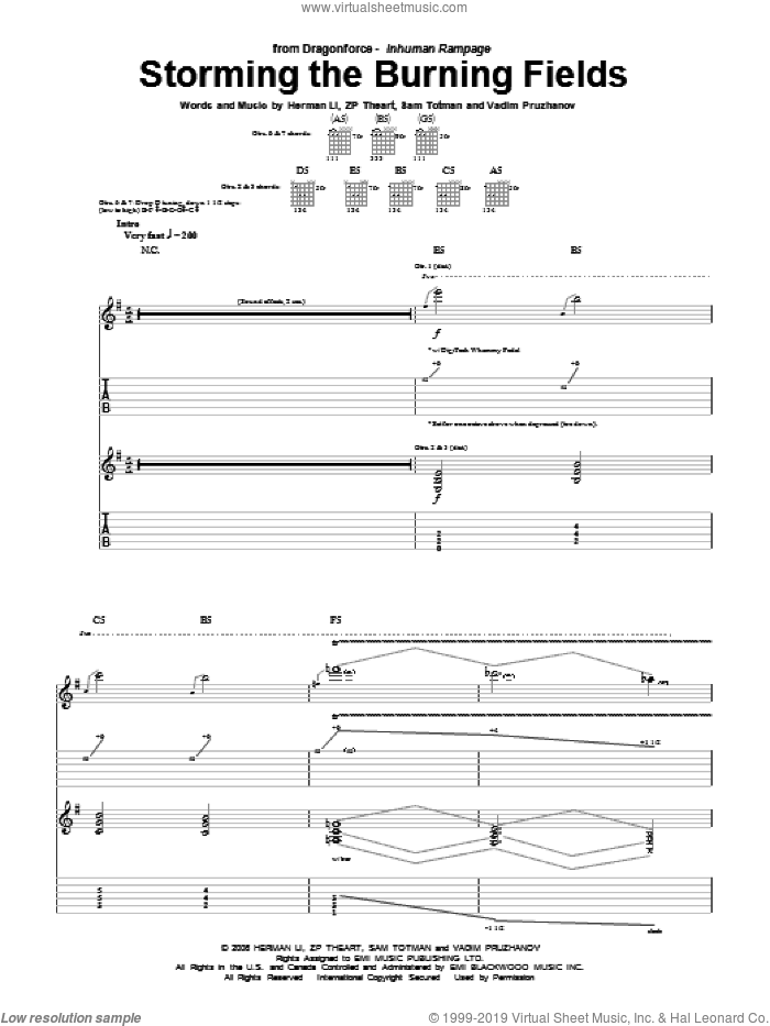 Storming The Burning Fields sheet music for guitar (tablature) by Dragonforce, Herman Li, Sam Totman, Vadim Pruzhanov and ZP Theart, intermediate skill level