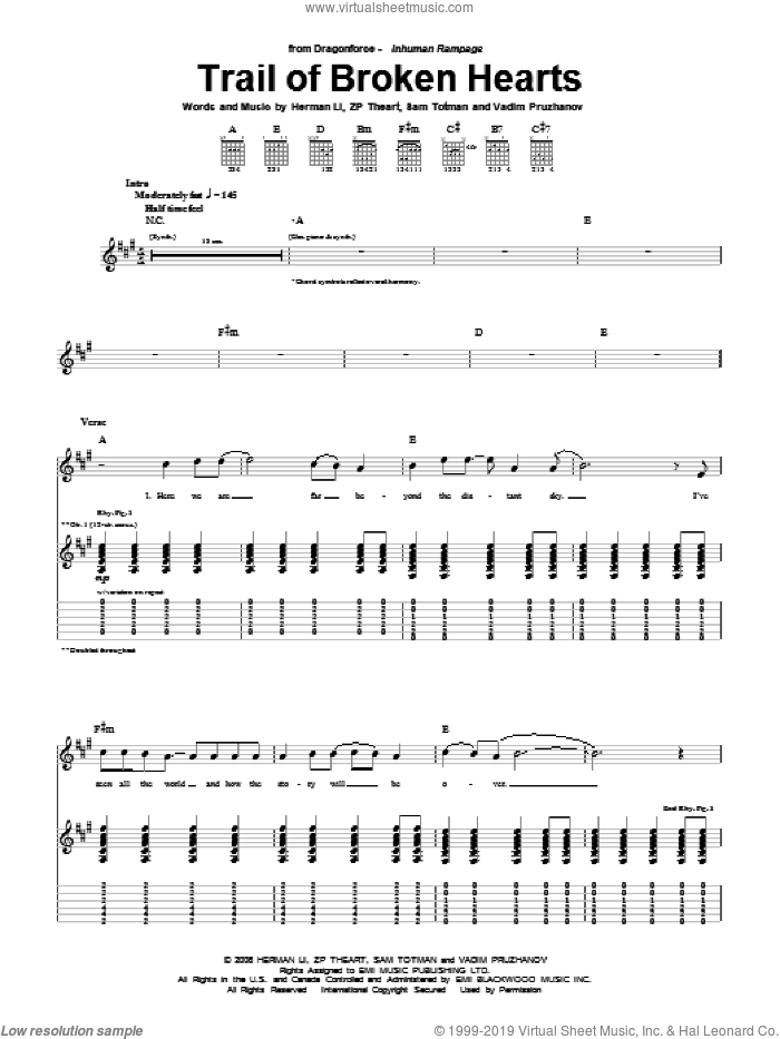 Trail Of Broken Hearts sheet music for guitar (tablature) by Dragonforce. Score Image Preview.