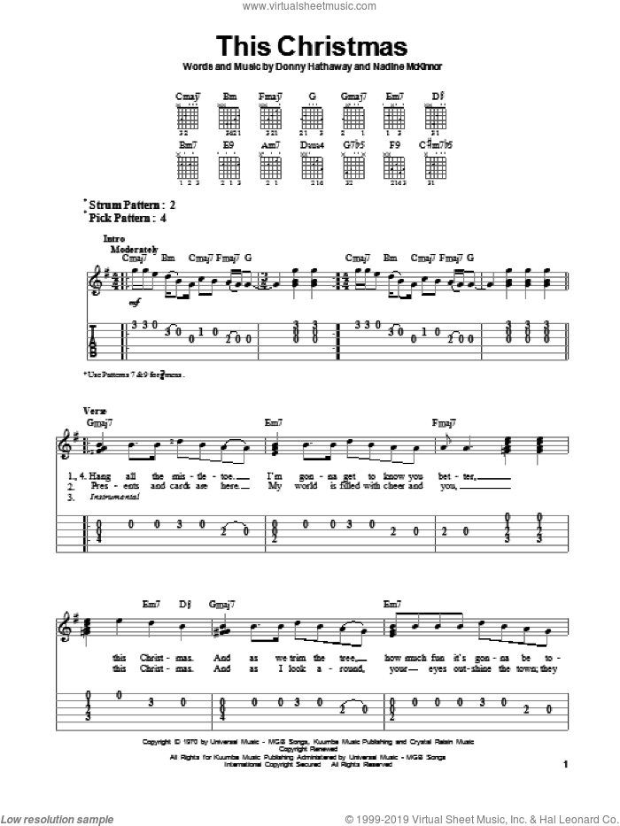 This Christmas sheet music for guitar solo (easy tablature) by Donny Hathaway and Nadine McKinnor, easy guitar (easy tablature)