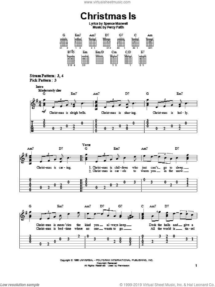 Christmas Is sheet music for guitar solo (easy tablature) by Percy Faith and Spence Maxwell, easy guitar (easy tablature)