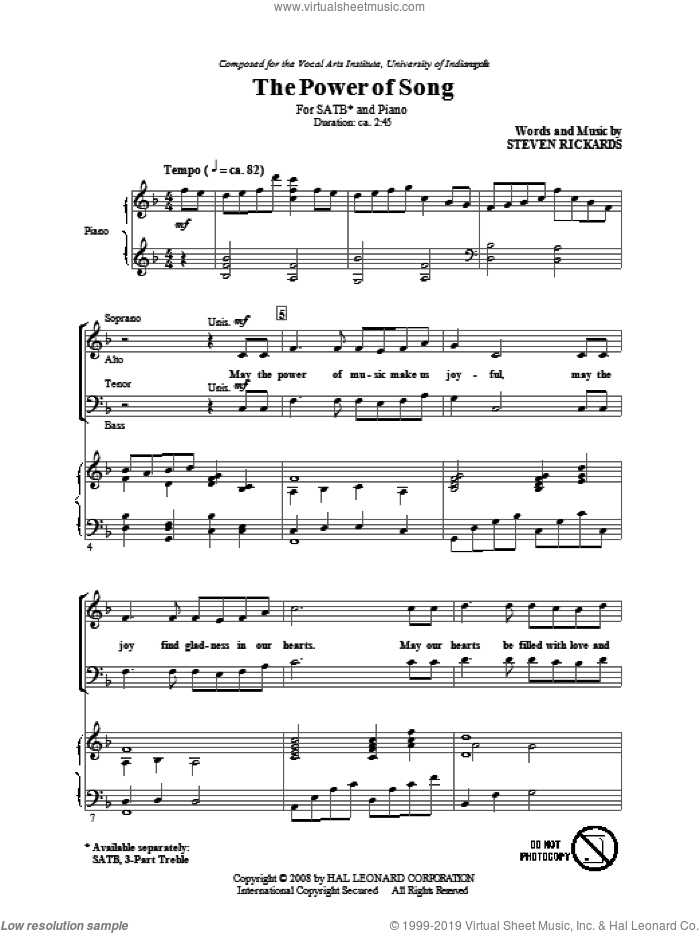The Power Of Song sheet music for choir and piano (SATB) by Steve Rickards