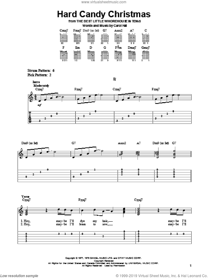 Hard Candy Christmas sheet music for guitar solo (easy tablature) by Dolly Parton, Kenny Rogers and Carol Hall, easy guitar (easy tablature)