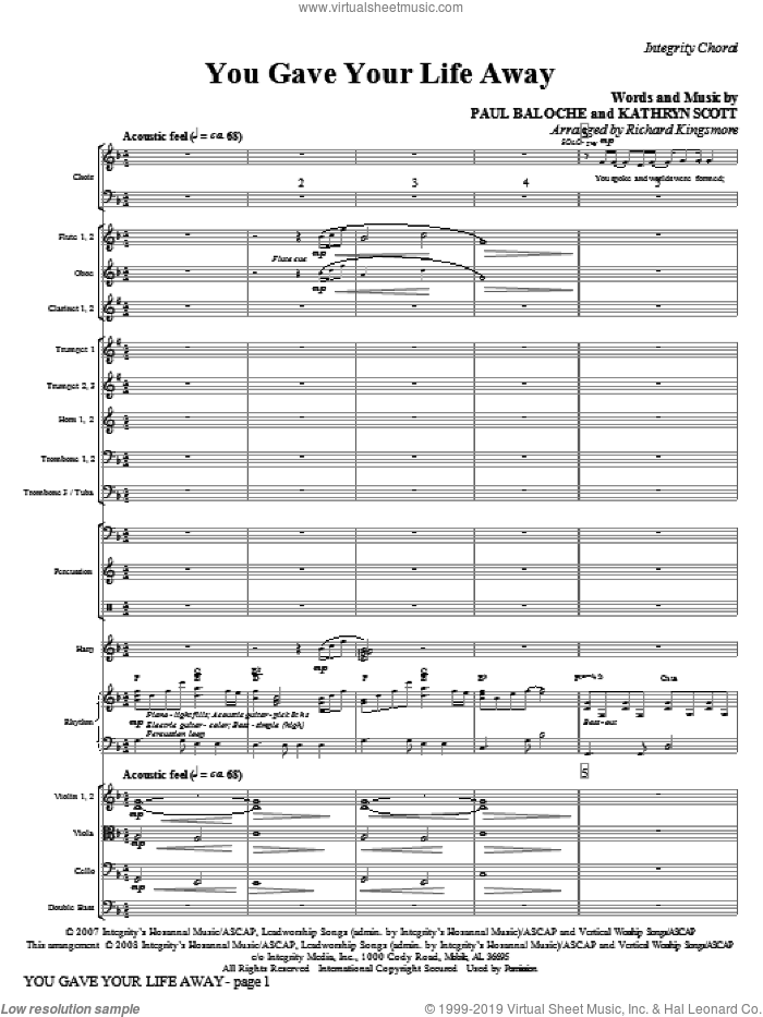 You Gave Your Life Away (COMPLETE) sheet music for orchestra/band (Orchestra) by Paul Baloche, Kathryn Scott and Richard Kingsmore, intermediate skill level