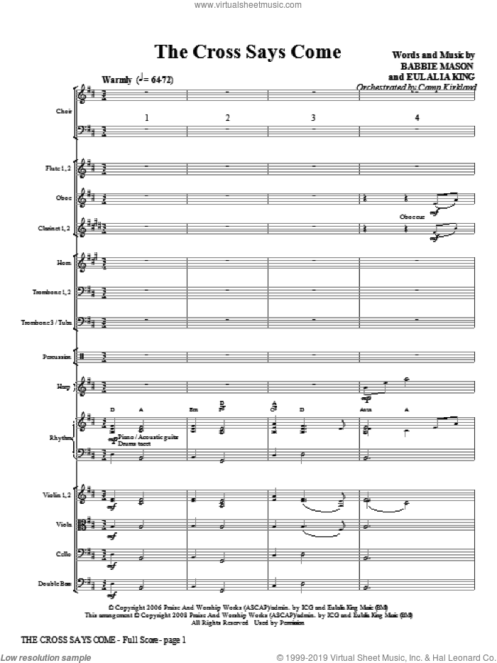 The Cross Says Come (COMPLETE) sheet music for orchestra/band (Orchestra) by Babbie Mason, Eulalia King and Camp Kirkland, intermediate skill level