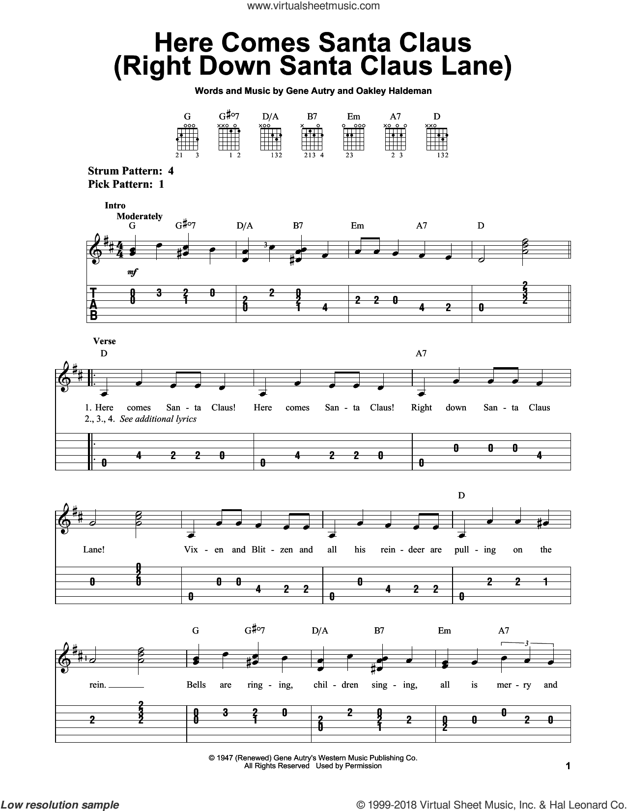Here Comes Santa Claus (Right Down Santa Claus Lane) sheet music for guitar solo (easy tablature) by Gene Autry and Oakley Haldeman, easy guitar (easy tablature)