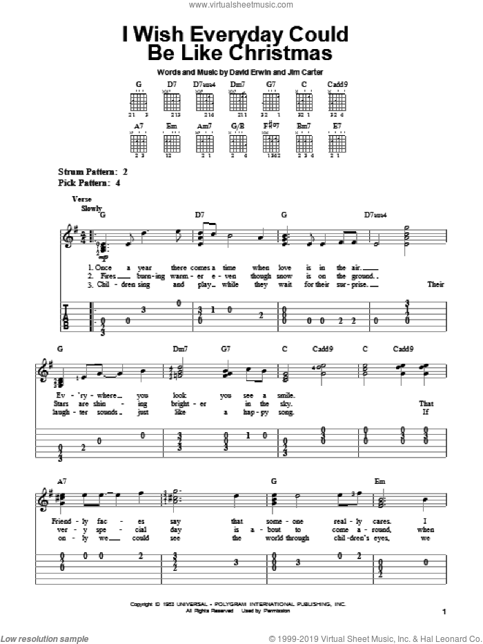 I Wish Everyday Could Be Like Christmas sheet music for guitar solo (easy tablature) by Jim Carter and Brook Benton. Score Image Preview.