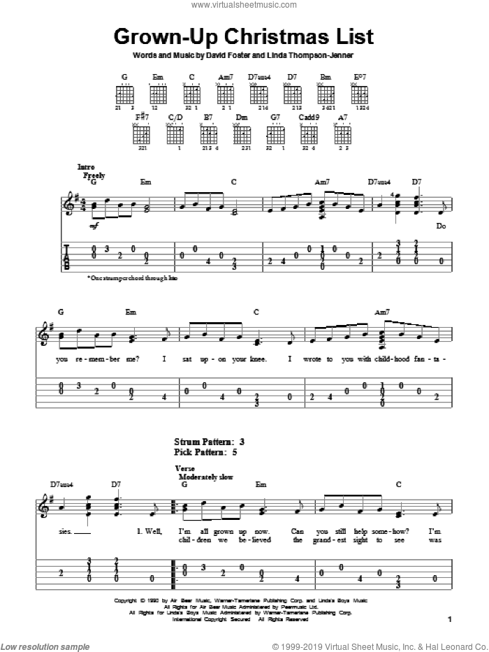 Grown-Up Christmas List sheet music for guitar solo (easy tablature) by Linda Thompson-Jenner, Amy Grant and David Foster. Score Image Preview.