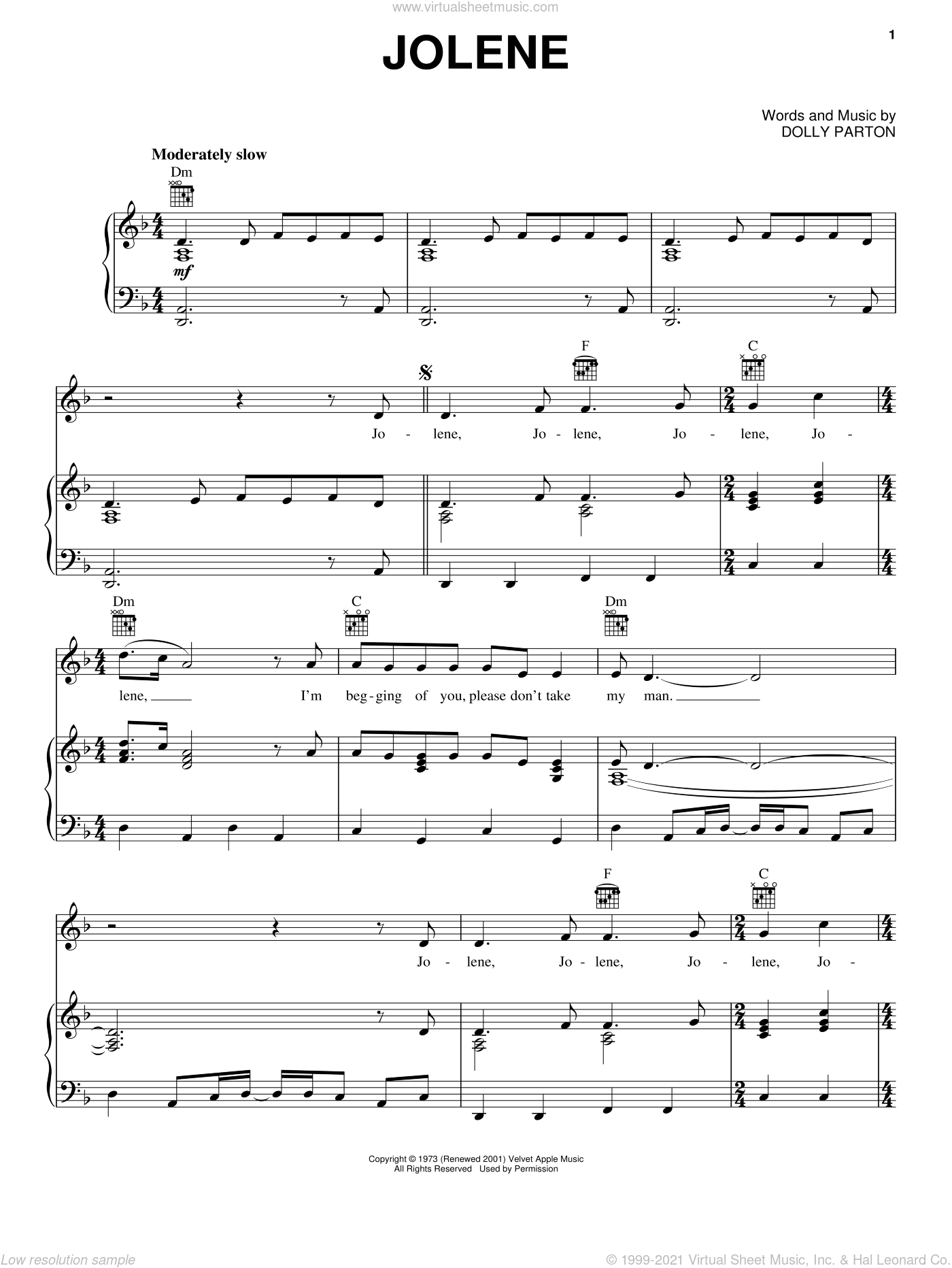 Jolene sheet music for voice, piano or guitar by Dolly Parton, intermediate skill level