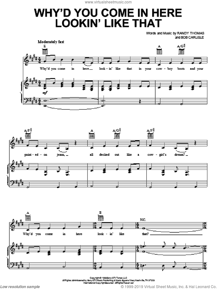 Why'd You Come In Here Lookin' Like That sheet music for voice, piano or guitar by Randy Thomas