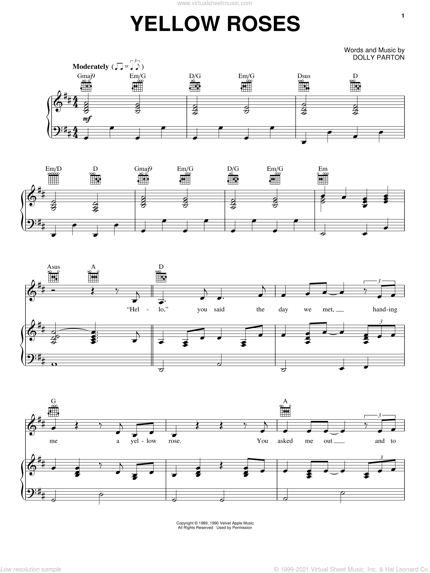 Yellow Roses sheet music for voice, piano or guitar by Dolly Parton, intermediate skill level