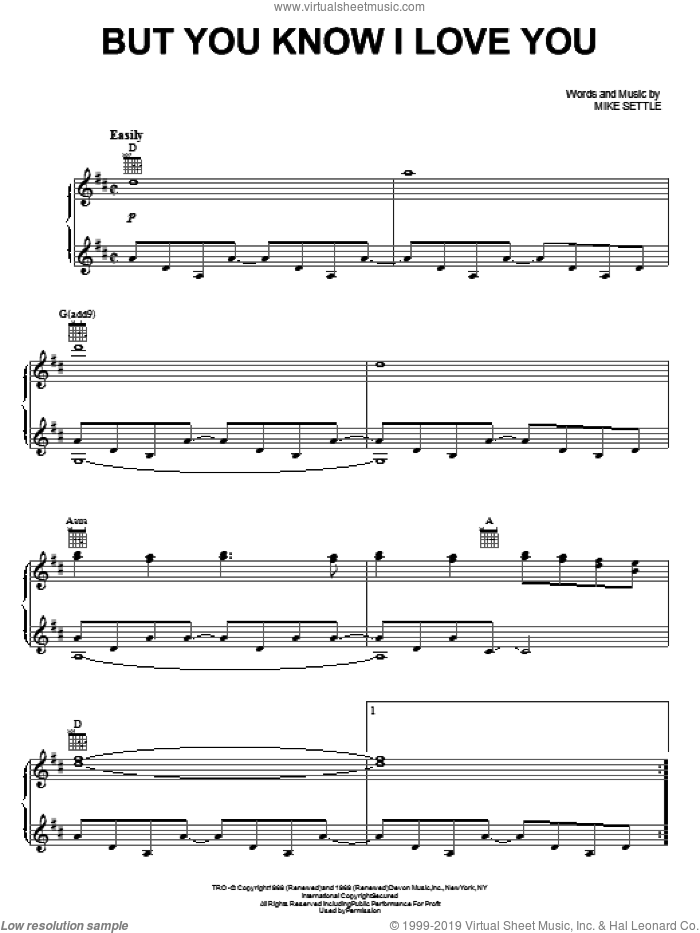 But You Know I Love You sheet music for voice, piano or guitar by Mike Settle