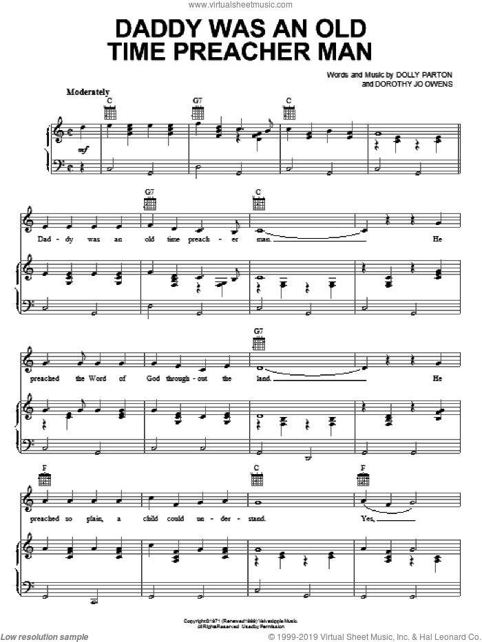 Daddy Was An Old Time Preacher Man sheet music for voice, piano or guitar by Dolly Parton and Dorothy Jo Owens, intermediate skill level