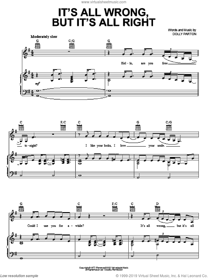 It's All Wrong, But It's All Right sheet music for voice, piano or guitar by Dolly Parton, intermediate skill level