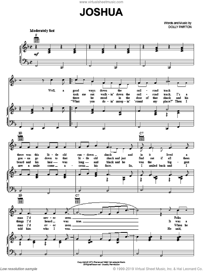 Joshua sheet music for voice, piano or guitar by Dolly Parton, intermediate skill level