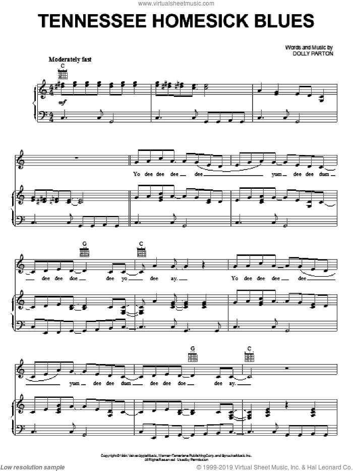 Tennessee Homesick Blues sheet music for voice, piano or guitar by Dolly Parton, intermediate skill level